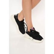Pantofi sport negru casual cu siret si talpa contrastanta