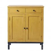 Maisons du Monde Credenza alta a 2 ante e 2 cassetti in legno massello di mango gialla e nera Tiago