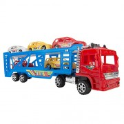 My First Preschool Red Truck Car Beginner Set Toys Lightweighted 1 Truck and 5 Race Cars Great Holiday gift