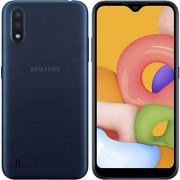 Samsung Galaxy A01 (16 GB, 2 GB RAM) 5.7 pulgadas Infinity-V, cámara trasera dual, Snapdragon 439, US & Global 4G LTE GSM desbloqueado A015M/DS Modelo internacional (azul, paquete SD de 64 GB)