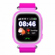GPS Q90 1.22-inch Touch Screen Kid WIFI Positioning Children Smart Watch Phone Support GPS, SOS Call, Pedometer - Pink