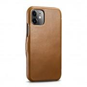 ICARER Vintage Style Crazy Horse Genuine Leather Folio Flip Phone Case for iPhone 11 6.1-inch - Khaki