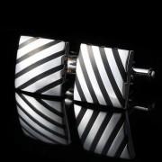 Knoflickarna.CZ Manžetové knoflíčky čtverec s černým pruhe 0541