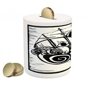 Sketch Coin Box Bank by Lunarable, Woodcut Scene with Mythical Giant Octopus Kraken Sinking a Ship Underwater, Printed Ceramic Coin Bank Money Box for Cash Saving, Black and White