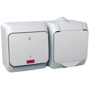 Cedar Plus IP44 vízmentes kombináció, földelt csatlakozóaljzat (dugalj), csapófedéllel, 2P+F + kétpólusú jelzőfényes kapcsoló (102), fehér színben, komplett szerelvény, falon kívül, vízmentes (IP44) 16A 250V (Schneider Electric WDE000503)