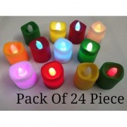Diya Led Light Battery Powered Flame less Smokeless Diwali Gift Home Decoration Multicolored 24 Piece