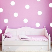 White : ufengke® 20-pcs Polka Dots Circles Wall Decals, Children's Room Nursery Removable Wall Stickers Murals White