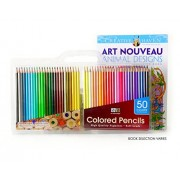 Art Advantage 50 Count Colored Pencils with Free Coloring Book and Carrying Case - Soft Leads - Great for Adult Coloring Books