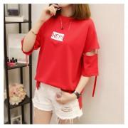 Camiseta De Manga Corta T-shirt Con Carta Impresión Para Mujer - Rojo