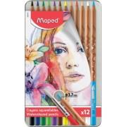 Creioane colorate Color Peps Aqua Artist cutie metal 12 culori/set + pensula Maped