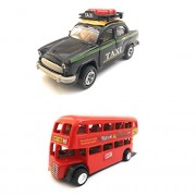 Combo Toys of Ambassador Taxi and Double Decker Bus (Mini, Small Size) Toy for Kids | Pull Back and Go | Openable Doors | Black and Red Color | Set of 2 Toys