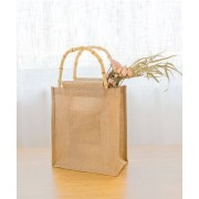 Miljösmarta Jute shopping väska med bambuhandtag
