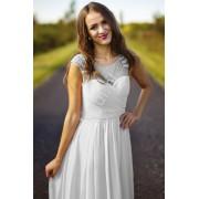 Lejdi Śliczna długa biała suknia ślubna z koralikami i drapowanym gorsetem