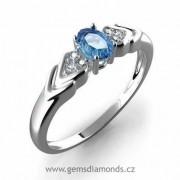 Zásnubní GEMS prsten s diamanty, blue topaz, bílé zlato, Justyna 386-0451