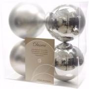 Merkloos Kerst kerstballen zilver 10 cm Christmas Silver 4 stuks - Kerstbal