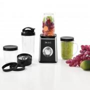 [in.tec]® Turmixgép multifunkciós smoothie készítő 10 x 17 cm 4 tartály poharak fekete/ezüst