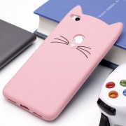 Huawei P8 Lite (2017) Silicone Cat Whiskers Pattern Protective Back Cover Case(Pink)