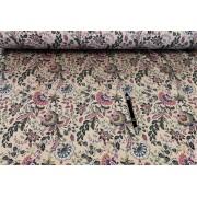 Nagyon elegáns fekete virágos farmer textil 180 cm széles