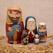 """Bits And Pieces 5pc Nesting Doll Holy Family The Nativity Family Hand Painted Hand Made Wooden Nesting Dolls Matryoshka Nativity Figurines Set Of 5 Dolls From 5.5"""" Tall"""