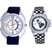 Fancy Sport Dial With Flowers Black Art Couple Analoge Wrist Watch By Ganesha Exim