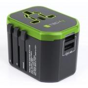 Adattatore da Viaggio con 2 Porte USB 2,4A Nero/Verde