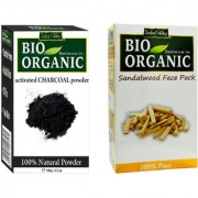 Indus valley Bio Organic Activated Charcoal + Sandalwood Powder Combo-Set of 2