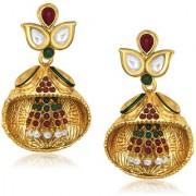 Kriaa by JewelMaze Green And Maroon Pota Stone And Pearl Gold Plated Dangler Earrings-AAA0301