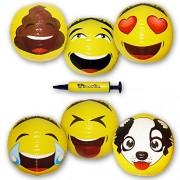 "18"" Asian Emoji Inflatable Water Beach Balls By Emochies (6 Pack of 6 Unique Designs) - BONUS Mini Air Pump - Ideal For Pool, Park, Festivals & Summer Parties"