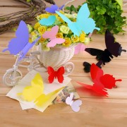 EY 12pcs De La Mariposa 3D Arte Decal Decoración PVC Mariposas Pegatinas De Pared Negro