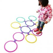 Tradico Kids Outdoor Jumping Ring Games with Friends Preschool Teaching Aid Sport Toy Hopscotch Jump to The Grid Children Sensory Integration Training Game