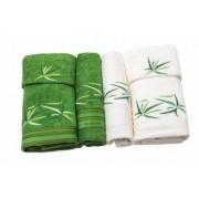 Set de 6 prosoape Valentini Bianco culoare verde cu crem model Star