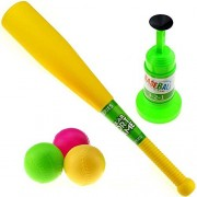 AMGlobal Kids T Ball Set Baseball Set with 3 Different Color Balls Green, Blue, Pink, Sports Training Set Baseball Toy for Kids Children for Fun