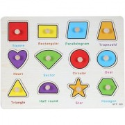 SHRIBOSSJI GEOMETRIC SHAPES WOODEN PUZZLE FOR KIDS(MULTICOLOUR)