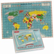 wereld kado - Puzzel Vintage World Map Jigsaw | Dotcomgiftshop