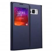 Para Samsung Galaxy S8 Litchi Texture Horizontal Funda De Ecocuero Flip Con Llamada Pantalla Id (azul Oscuro)