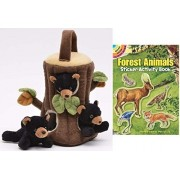 "Unipak Black Bear Finger Puppet Tree House 10"" Plush Stuffed Animals with Forest animal sticker book"