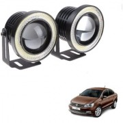 Auto Addict 3.5 High Power Led Projector Fog Light Cob with White Angel Eye Ring 15W Set of 2 For Volkswagen Vento