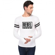 TRENDS TOWER Full Sleeve Round Neck Thumb Ring Mens T-Shirt White Color Rebel Sport Graphics Print