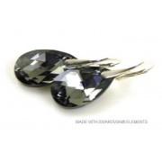 "Bijou Gio Design™ Zilveren Oorringen met Swarovski Elements Pear-Shaped ""Crystal Silver Night"""