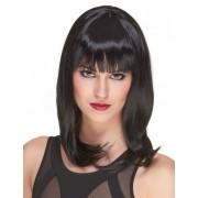 Luxo Peruca de luxo preta semi-longa mulher- 170 g