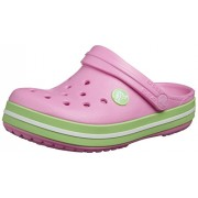 Crocs Kids Unisex Crocband Carnation and Green Glow Rubber Clogs and Mules - C12C13
