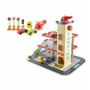 Set Joc pentru Copii Pista din Lemn tip Parcare cu Lift pe Etaje + Elicopter Masinute si Accesorii
