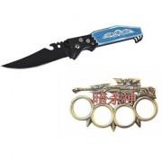prijam Pocket Knife BLK-56 (21cm) Model & Top Model Knuckle Punch Pack of 2 Products
