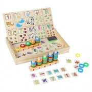 Grizzly Wooden Educational Toys, Math Learning Numbers Training Puzzle Box Toy Art Drawing Easel Double Board Sorting Early Learning Games Tool Set Birthday Gift for Kids Children