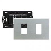 Bticino Supporto E Placca 2 Moduli Per Scatole Rettangolari Magic Argento S503/12Xs