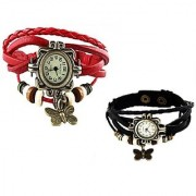 Set of 2 Fancy Vintage Red Black Leather Bracelet Butterfly Watch for Girls Women - Combo Offer