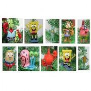 SpongeBob SquarePants Christmas Ornament Set - Plastic Shatterproof Ornaments Ranging from 3 to 4