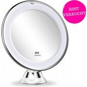 Make Up Spiegel Met LED Verlichting - Makeup spiegel Met 10x Vergroting - Scheerspiegel Rond
