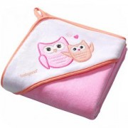Бебешка велурена кърпа за баня с качулка - розова, 138 01 Babyono, 7930053