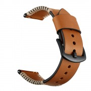 Pork Ribs Style Genuine Leather Coated Smart Watch Strap for Samsung Galaxy Watch 42mm - Brown